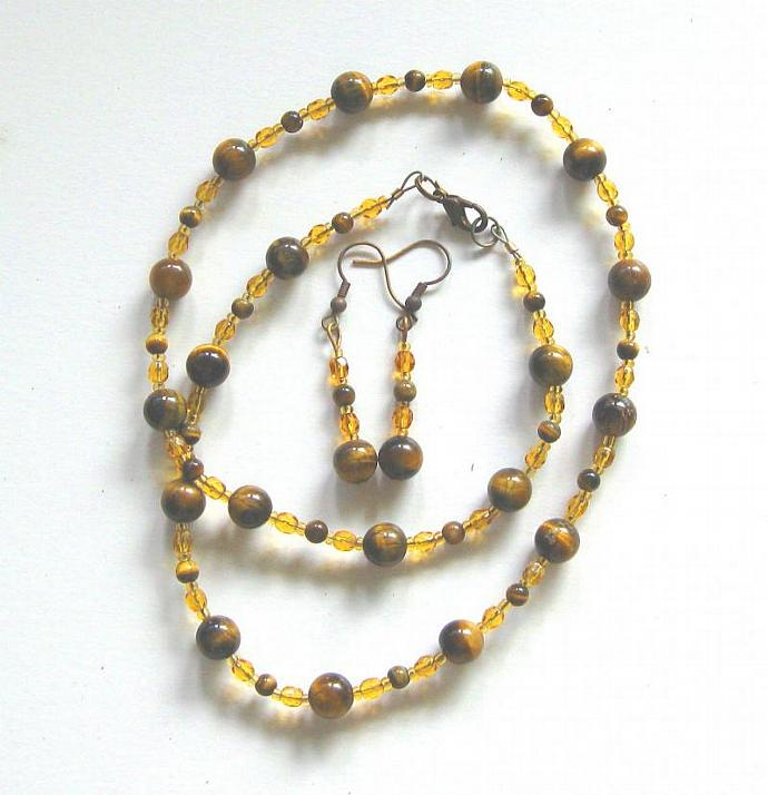 Jewelry set, necklace, bracelet and earrings, round Tigereye beads and fire