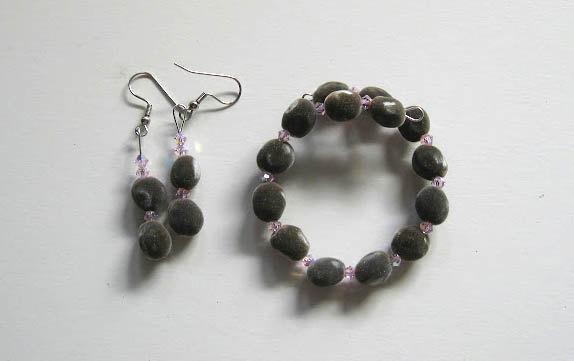 Jewelry set, Hawaiian mgambo seeds and rosaline AB Swarovski crystals, bracelet,
