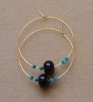 Black Onyx Gold Color Hoop Earrings with Turquoise AB2X Swarovski Crystal