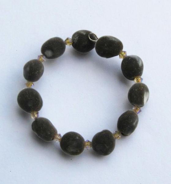 Hawaiian mgambo seed and vintage rose 2AB Swarovski crystal bracelet, handmade