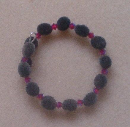 Hawaiian mgambo seed and 4mm light siam 2AB Swarovski crystal bracelet, handmade