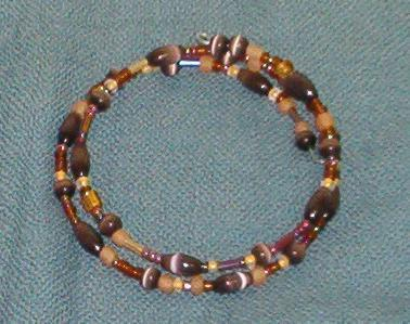 Wrap bracelet, brown and yellow seed beads, brown cats-eye beads, handmade in