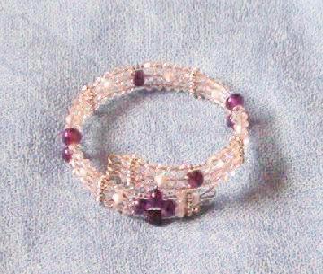 Handmade amethyst rondelle and Swarovski clear crystal bicone three row bangle