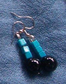 Round black onyx and turquoise cubes dangle earrings