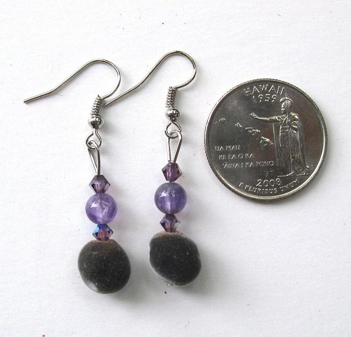 Hawaiian mgambo seed earrings with 6mm round amethyst and lilac AB Swarovski