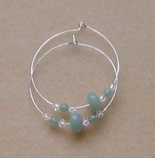 Aventurine hoop earrings with Swarovski crystals, handmade in Hilo, Hawaii