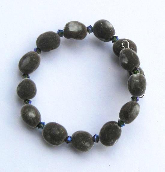 Hawaiian mgambo seed bracelet with tourmaline 2AB or AB2X Swarovski crystals,