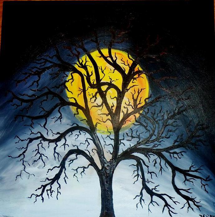 Moon thru the tree