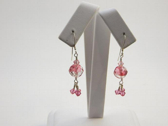 Vintage Glass, Swarovski Crystal and Silver Earrings