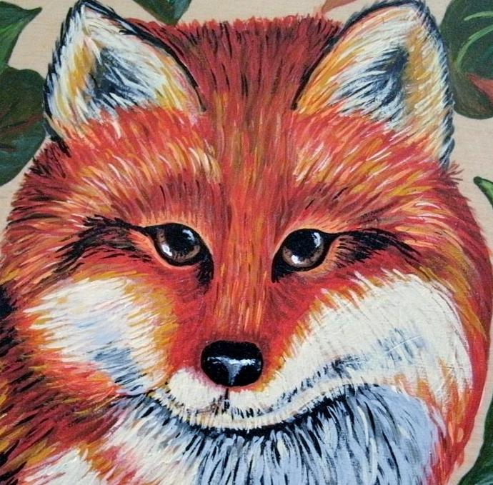 Fox Painting, fine art, original, woodland, rustic, animal, nature, wildlife,
