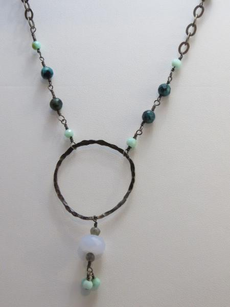 Antiqued Silver and Malachite-Azurite-Chrysocolla Necklace