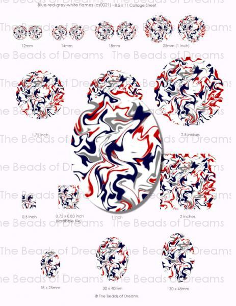 Digital collage sheet - Blue red grey white abstract flames - 12mm 14mm 18mm