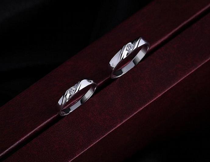 2pcs-Free Engraving Swiss diamond,platinum promise rings.lovers rings,wedding