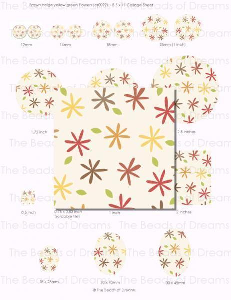 Digital collage sheet - Yellow cream brown khaki flower - 12mm 14mm 18mm 1inch