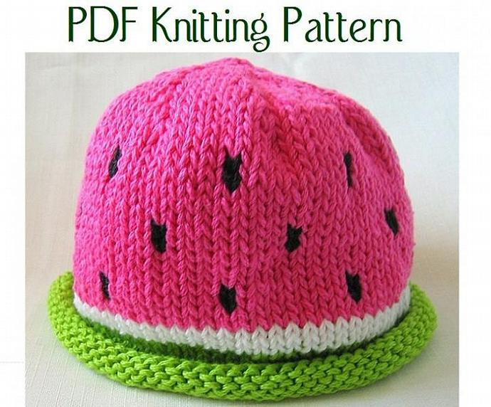 Boston Beanies Baby Watermelon Hat pattern, knit