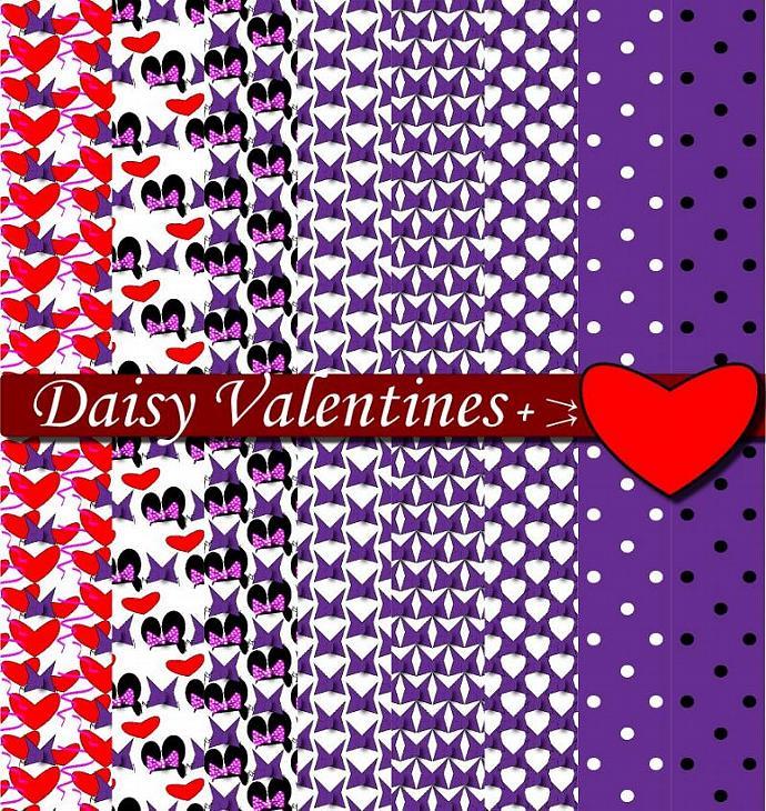 Daisy Purple Heart Digital Scrapbook Sheets DIY Printable Birthday Party Paper