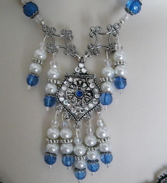 Winter Nights Necklace, victorian jewelry steampunk jewelry art deco jewelry art