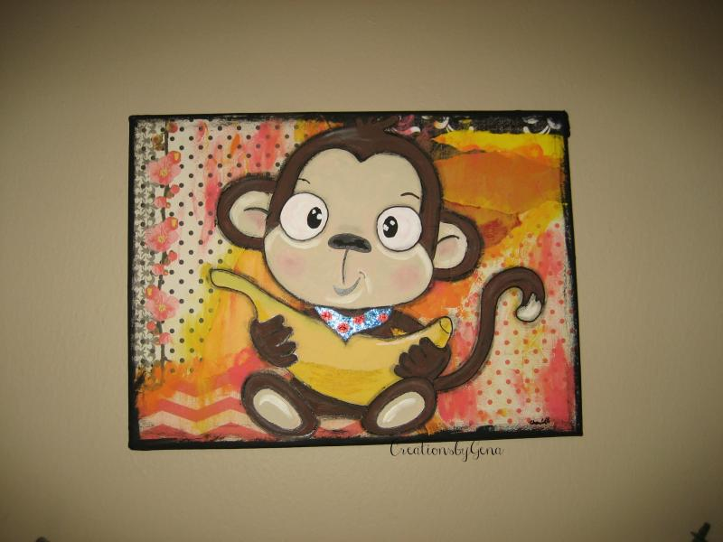 Baby Monkey Mixed Media Artwork Whimsical By Creationsbygena On Zibbet