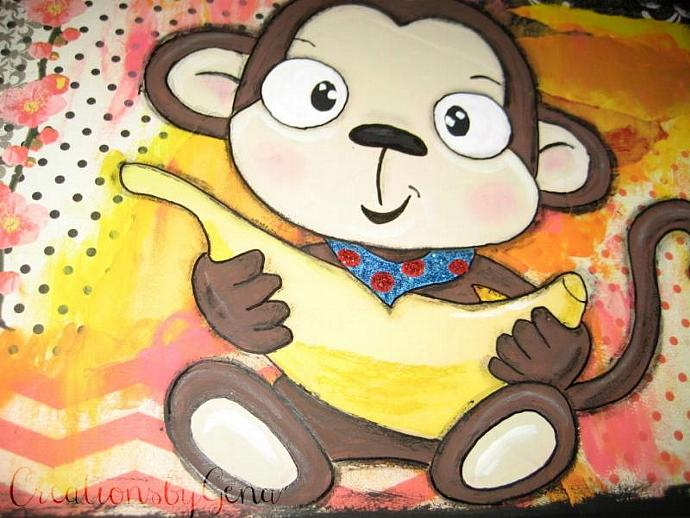 Baby Monkey Mixed Media Artwork whimsical folk art for kids room decor baby