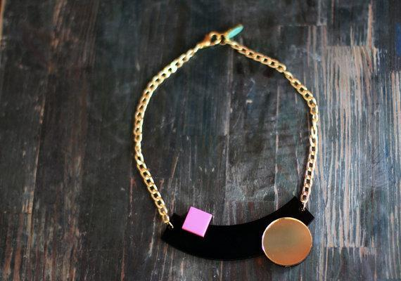 Black Geometric Necklace,Plexiglass Jewelry,Statement Necklace, Choker,Lasercut