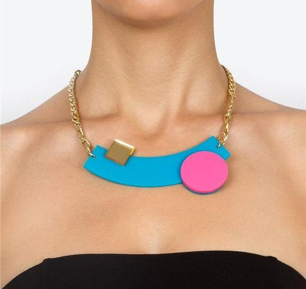 Turquoise Geometric Necklace,Plexiglass Jewelry,Statement