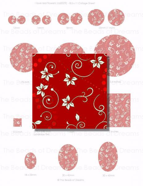 Digital collage sheet - I love red flowers - 12mm 14mm 18mm 1inch 2inches