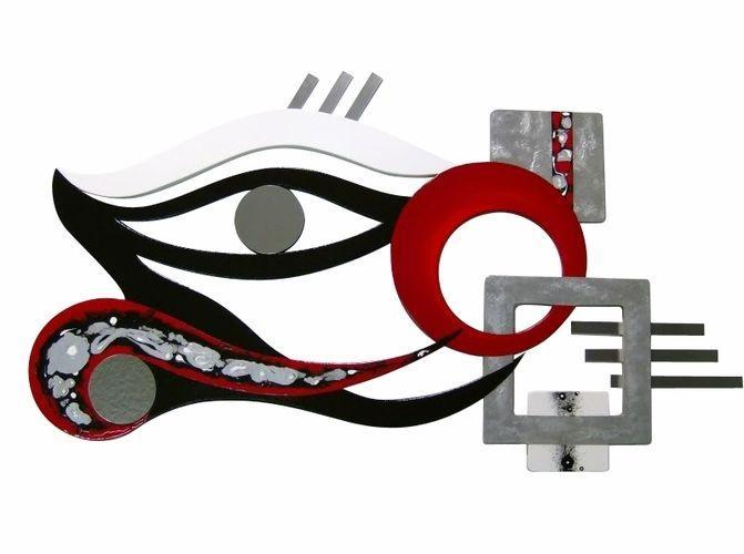 New LARGE Abstract Crimson Eye Wood Art with Metal Wall Sculpture, unique modern