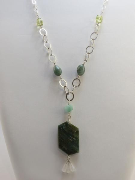 Zoisite, Lemon Quartz, Moonstone, Moss Agate, Amazonite, and Silver Necklace
