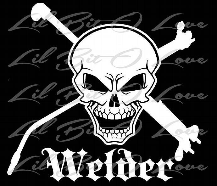 Welder Skull and Cross Tools Vinyl Decal - | LilBitOLove