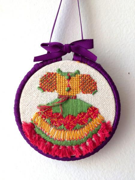 "Starting a new fashion line with this cute embroidery. Wall decoration. 3"" diam."