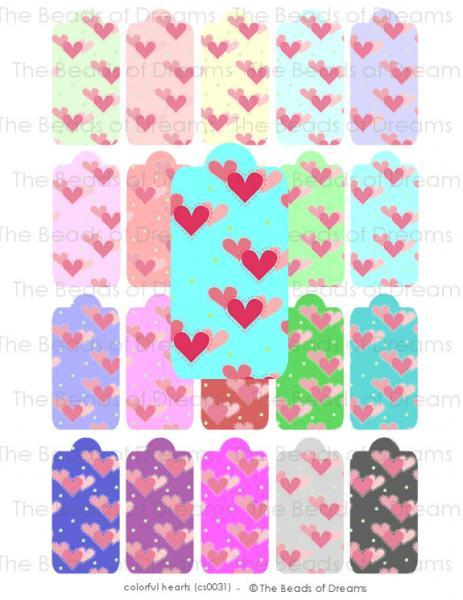 Printable digital collage sheet - Mixed color hearts tags in 20 colors - digital