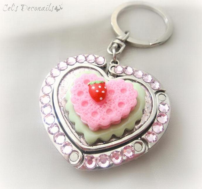 Mint strawberry keychain, heart shaped folding purse hook with keyholder, bag