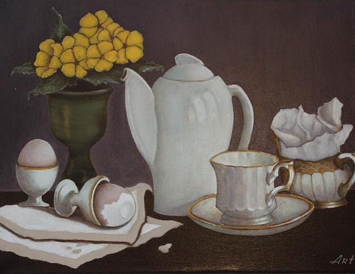 Still life / Breakfast in a village house