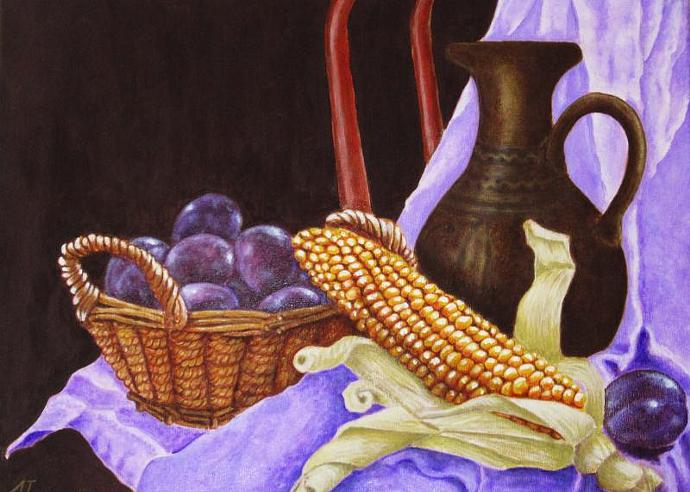 Still life / Plums and corn