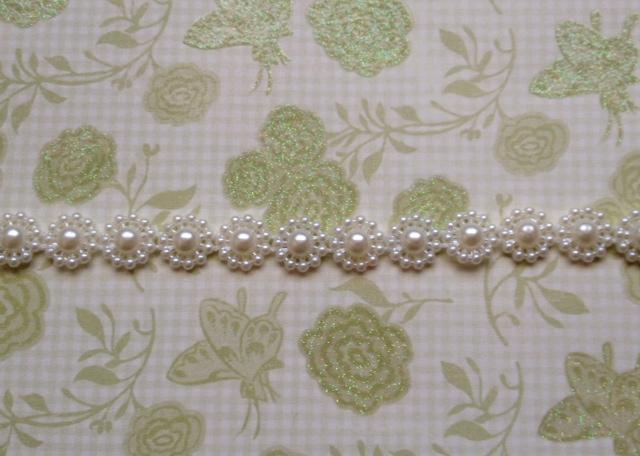 2 yds. Flatback Flower Pearl String Width 1cm. White (Item# FPS-01)