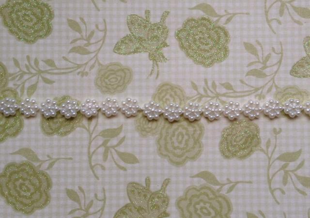 2 yds. Small Flower Flatback Pearl String Width 7mm. White (Item# FPS-03)