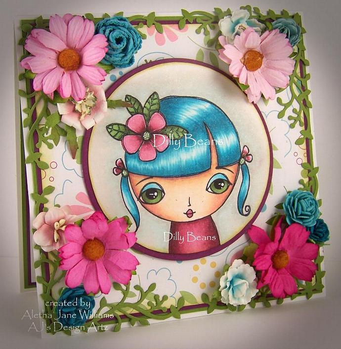 Flowers in Her Hair Handmade Greeting Card