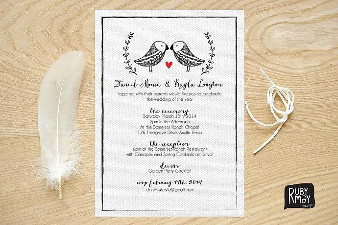 Love Birds Wedding Invitation Garden Wedding By Rubymay On Zibbet