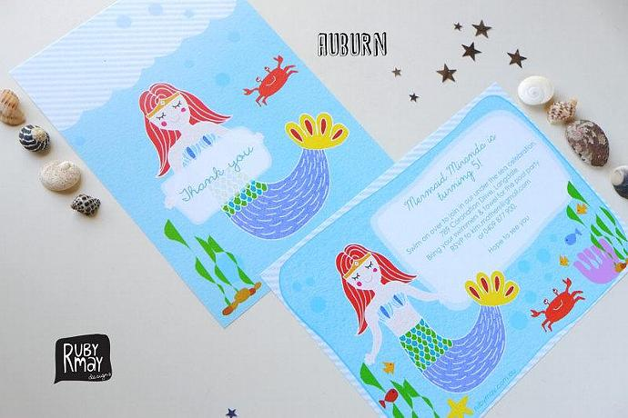 Mermaid Under The Sea Birthday Invitation And Thank You Card