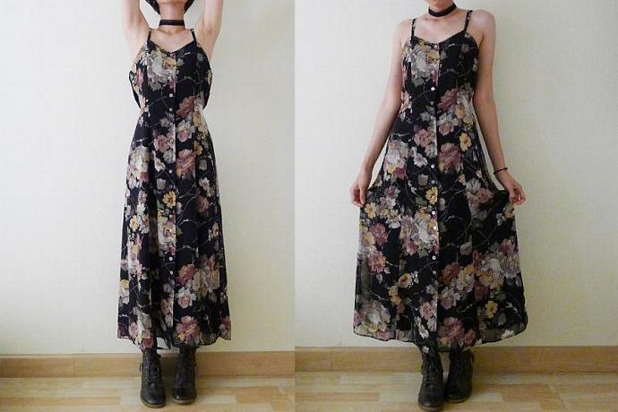 Vintage black chiffon dress, sleeveless maxi dress, spaghetti strap, button up