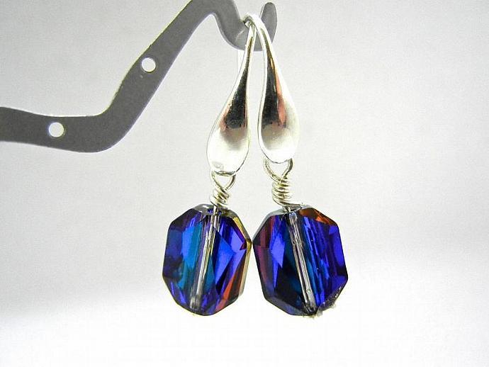 Rare Blue Crystal Swarovski Earrings, Solid Sterling Silver Earrings, Wedding,