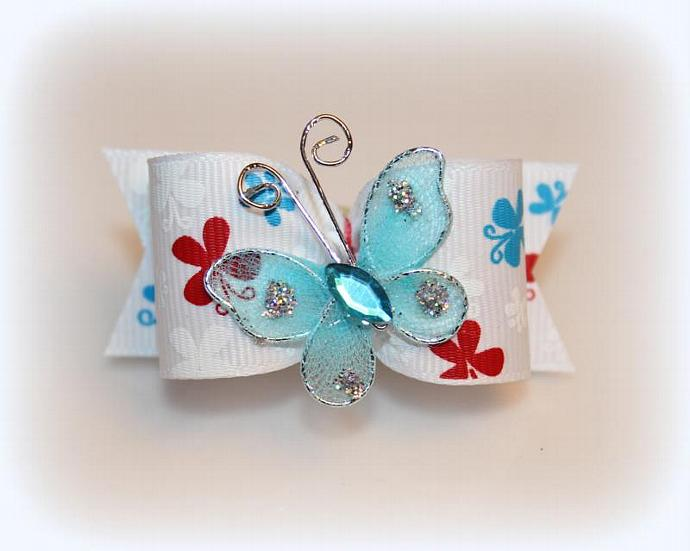 7/8 L -Butterfly Dog Bow with Matching Flags and Butterfly Embellishment ~ Blue