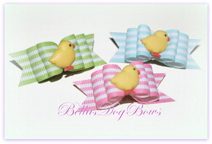 5/8 Easter Chick Double Loop Dog Bow