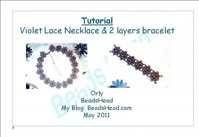 Step-by-Step pdf Tutorial - Lace violet necklace and bracelet