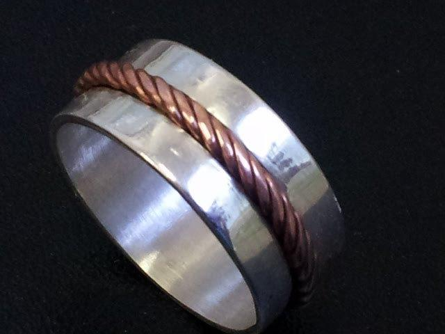 Sterling Silver and copper cable ring