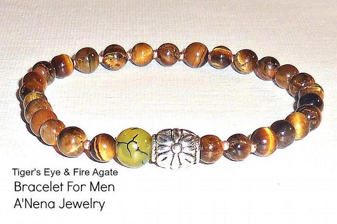 "Tiger's Eye, Fire Agate  Men's Bracelet ""Persistence"""