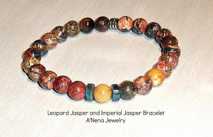 "Mens Bracelet Genuine Leopard Jasper and Imperial Jasper ""Dependable"""