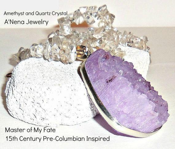 Unisex Necklace Genuine Druzy  Amethyst & Natural Quartz