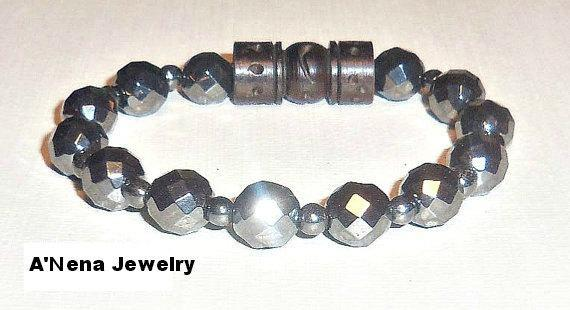 "Unisex  Bracelet Faceted Hematite and Carved wood ""I am Balanced"""