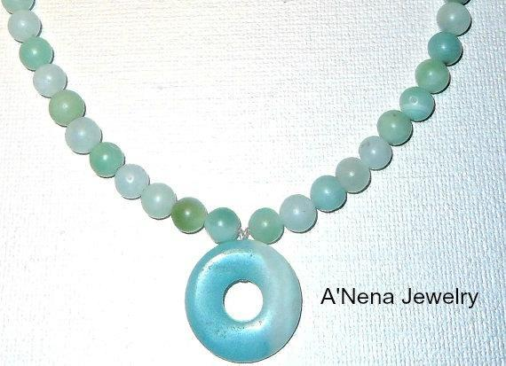 "Unisex Necklace  ""Courage""  Pure Genuine Amazonite beads and copper toggle clasp"